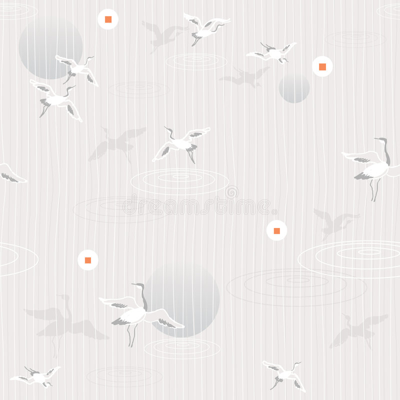 Download Flying Cranes- Seamless Pattern Stock Vector - Image: 5819280