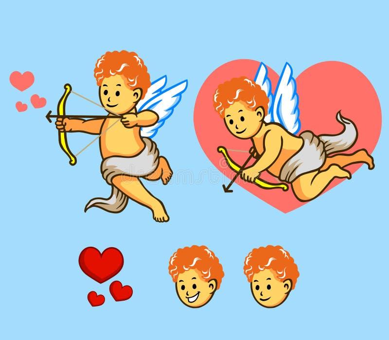 Flying Cupid Set. A illustration of flying Cupid stock illustration