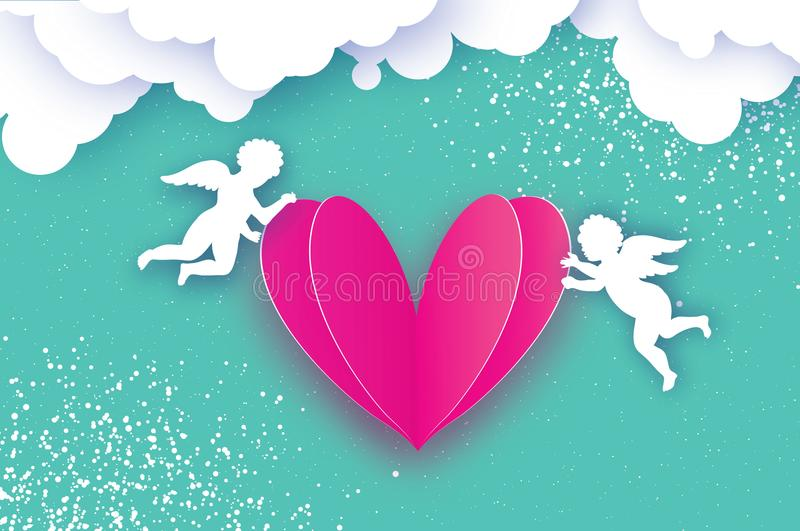 Flying Cupids - amur angels with Love Pink Heart in paper cut style. Origami Cherubs. Happy Valentine`s day. Romantic royalty free illustration