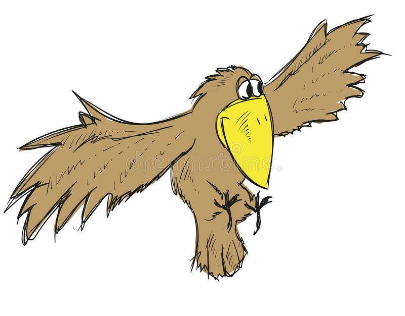 A flying cute cartoon crow. Vector bird. stock illustration