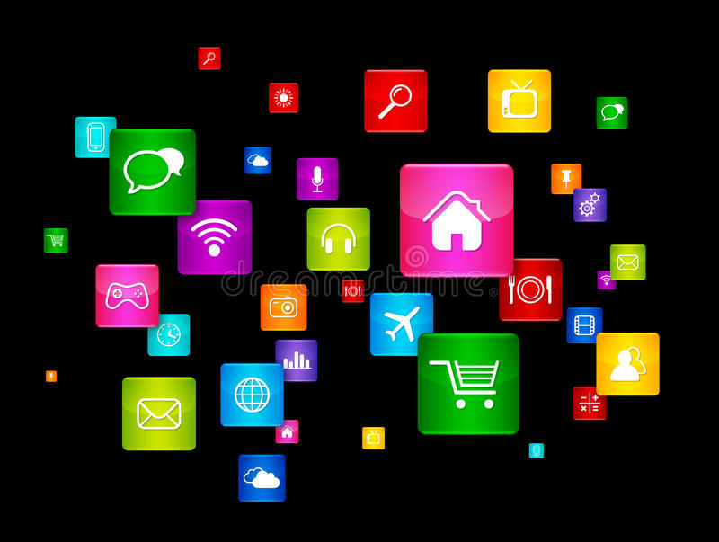 Flying Desktop Icons collection. Cloud Computing concept royalty free illustration