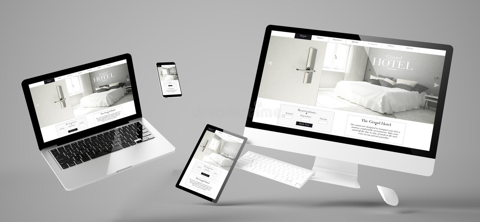 flying devices grand hotel responsive website royalty free stock images