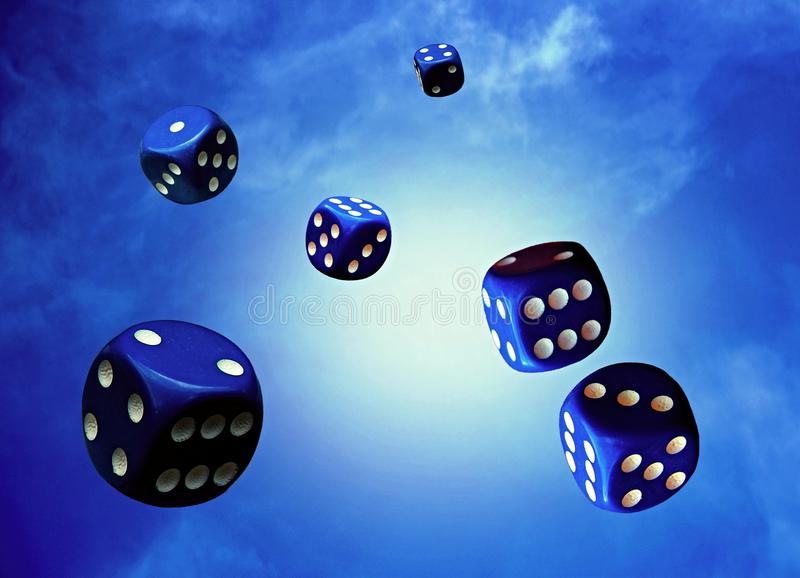 Flying dice. Several blue dice fall from the sky stock illustration
