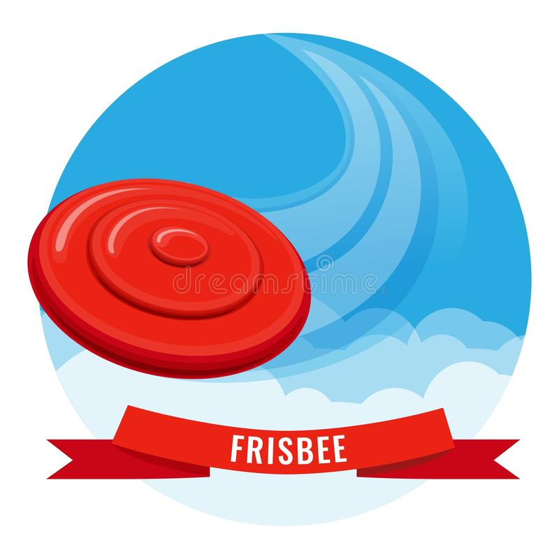 Flying disk red frisbee on blue sky vector illustration. Frisbee outside activity poster. Leaving behind high-speed rail on cloudless sky flying plate vector stock illustration