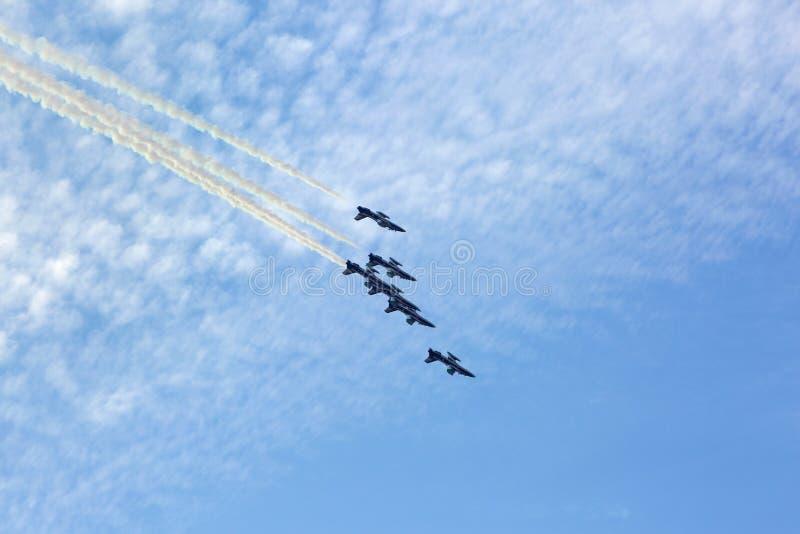 Flying display and aerobatic show of The Al Fursan UAE display t stock photo