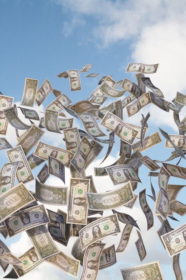 Flying dollar bills. 1 dollar bills flying in the sky royalty free stock photos