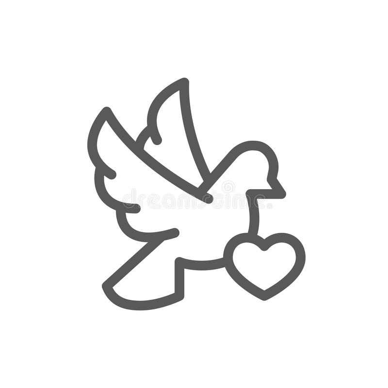 Flying dove with heart card line icon with editable stroke - pixel perfect outline symbol of romantic bird holding congratulation. For Valentines Day or wedding royalty free illustration