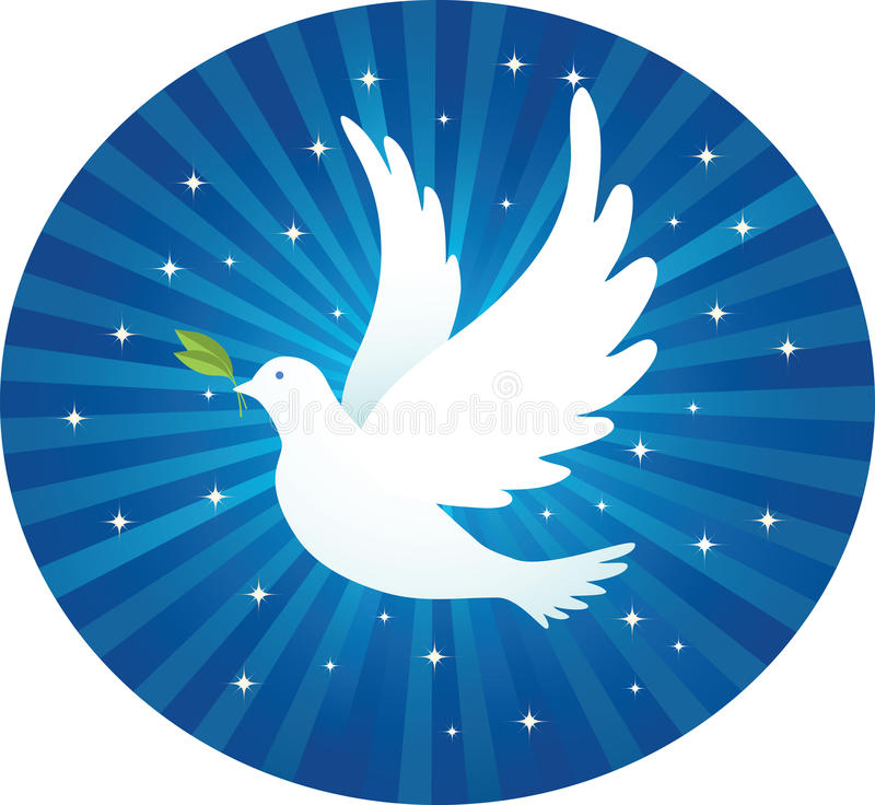 Download Flying dove with leaf stock vector. Illustration of light - 14501537