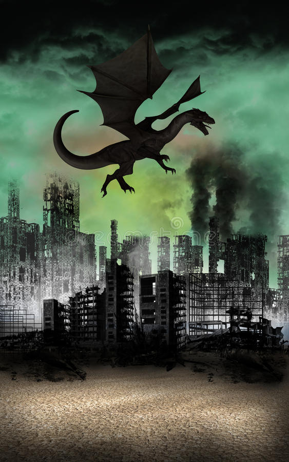 Free Flying Dragon City Ruins Apocalypse Royalty Free Stock Photography - 51513417