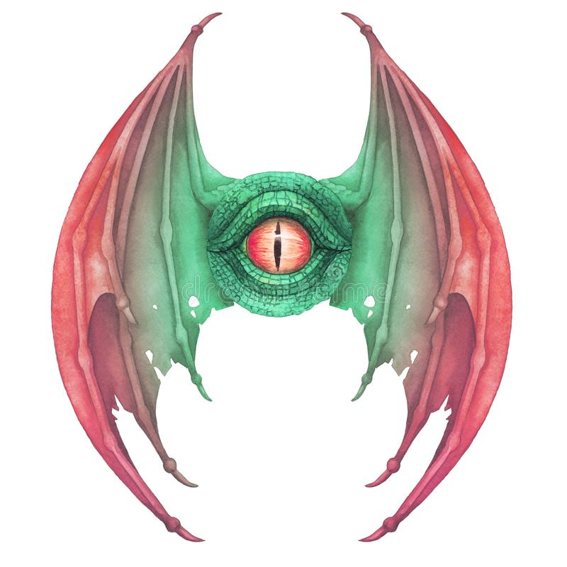 Flying dragon eye in green colors with opened wigs royalty free illustration