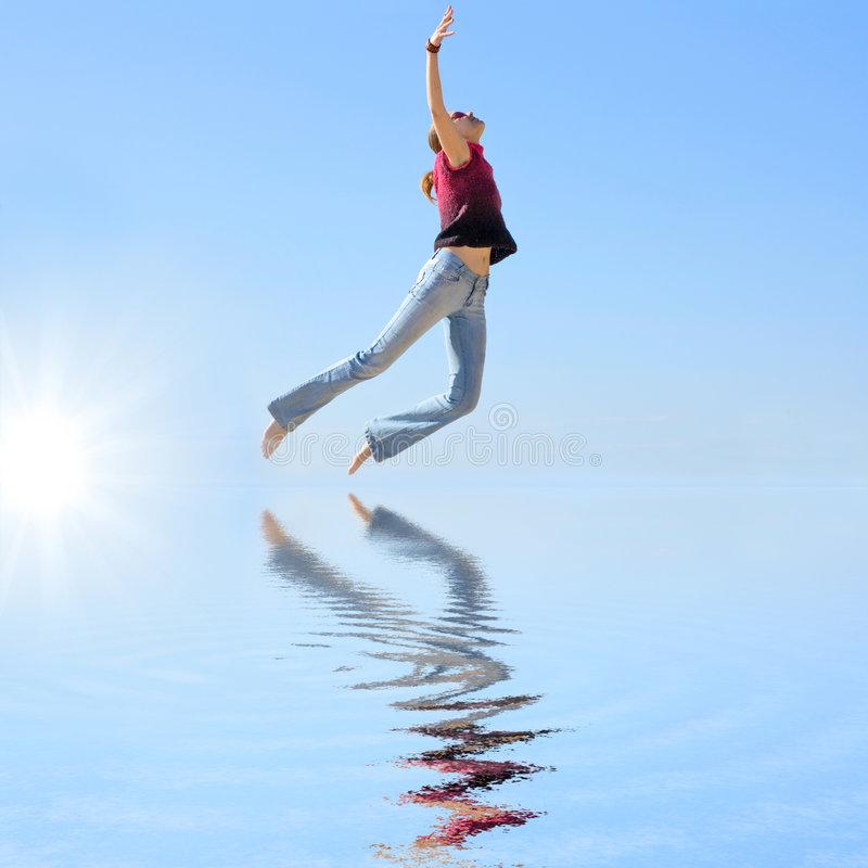 Flying in a dream stock images