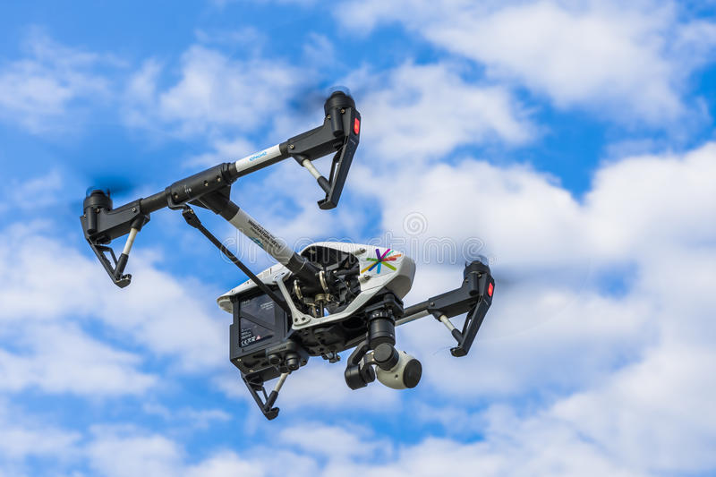 Flying drone with camera royalty free stock image