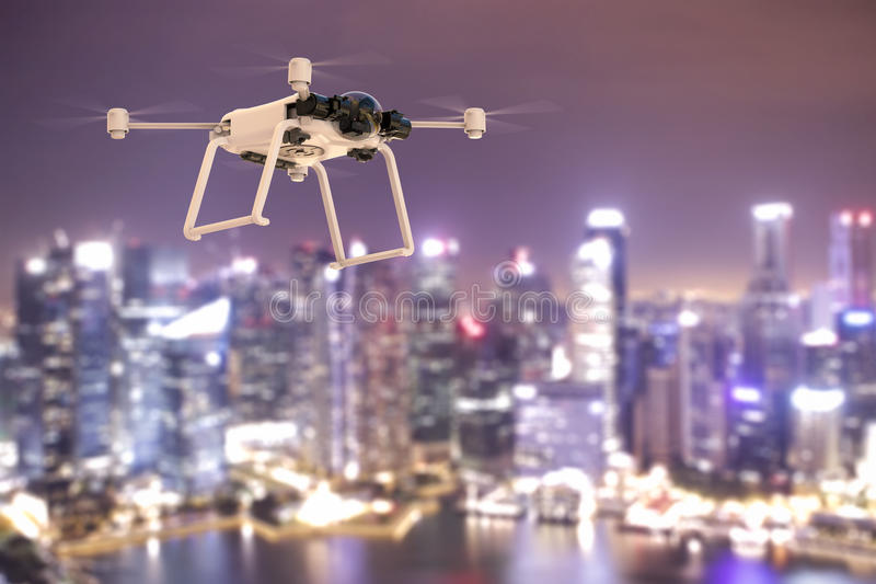 Flying drone in city stock illustration