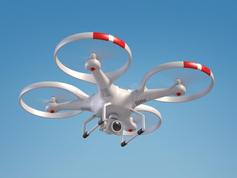 Flying drone 3d rendering isolated illustration stock illustration
