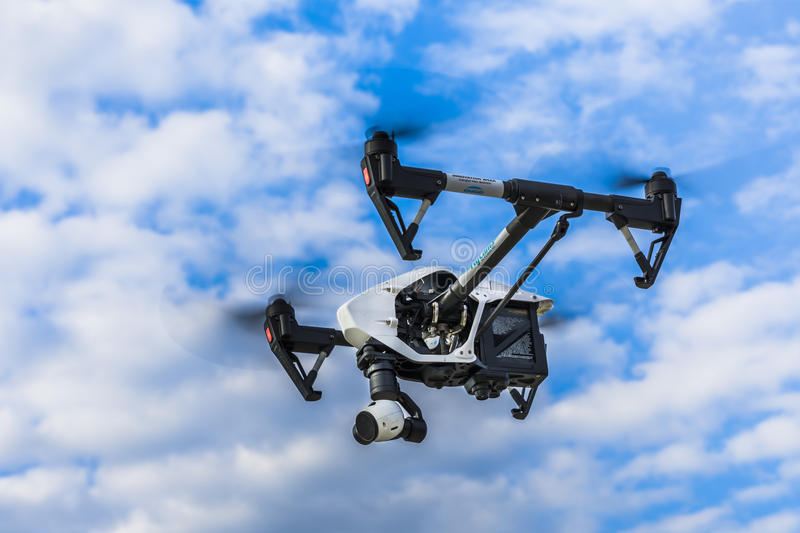 Flying drone stock photo