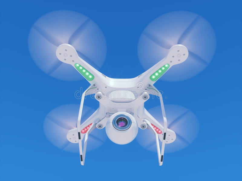 Flying drone with a video camera in the sky royalty free illustration
