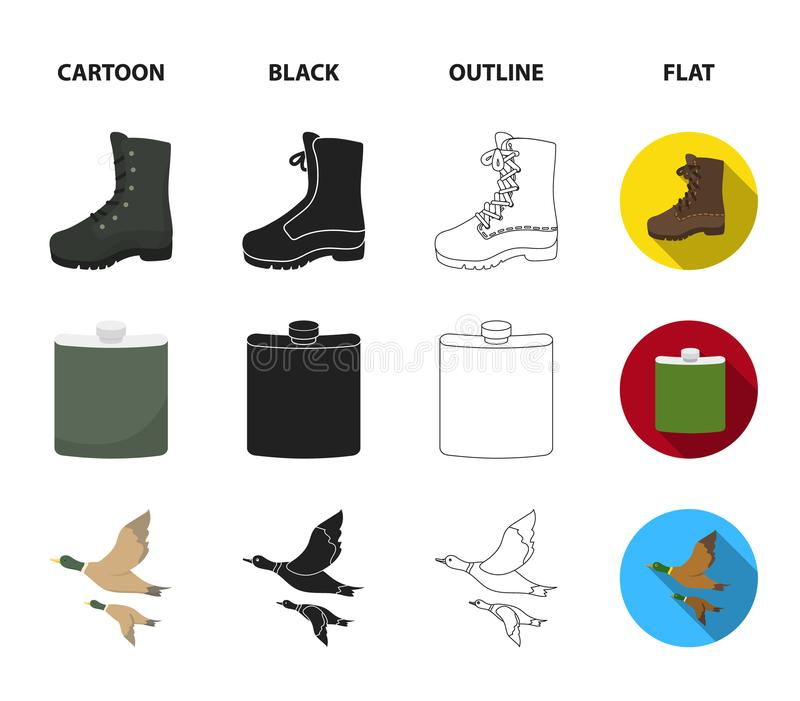 Flying ducks, flask, boots, tent..Hunting set collection icons in cartoon,black,outline,flat style vector symbol stock. Illustration royalty free illustration