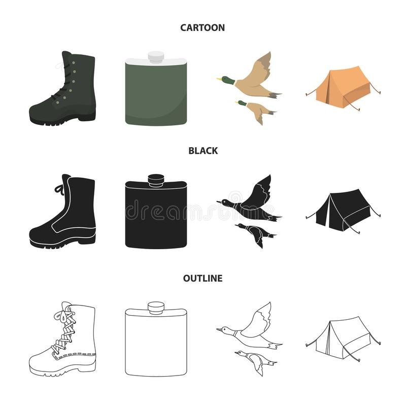 Flying ducks, flask, boots, tent..Hunting set collection icons in cartoon,black,outline style vector symbol stock. Illustration vector illustration