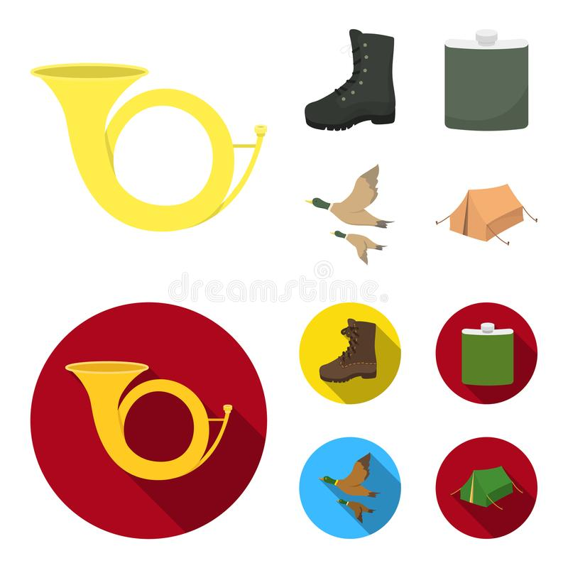 Flying ducks, flask, boots, tent..Hunting set collection icons in cartoon,flat style vector symbol stock illustration.  stock illustration