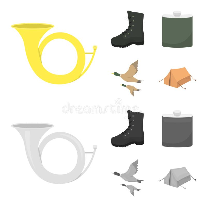 Flying ducks, flask, boots, tent..Hunting set collection icons in cartoon,monochrome style vector symbol stock. Illustration vector illustration