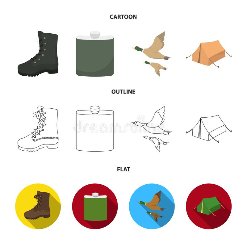 Flying ducks, flask, boots, tent..Hunting set collection icons in cartoon,outline,flat style vector symbol stock. Illustration royalty free illustration