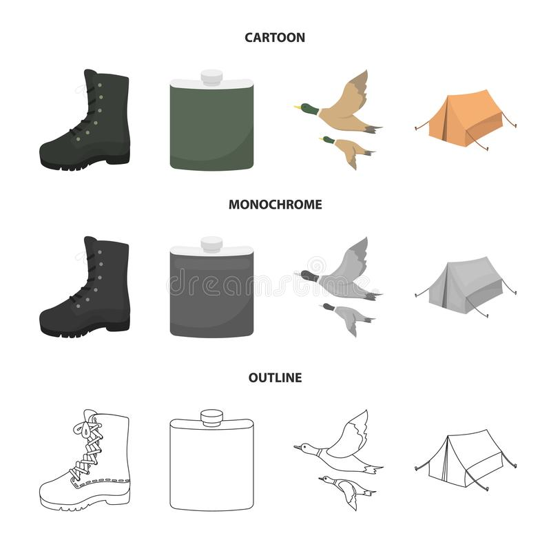 Flying ducks, flask, boots, tent..Hunting set collection icons in cartoon,outline,monochrome style vector symbol stock. Illustration royalty free illustration