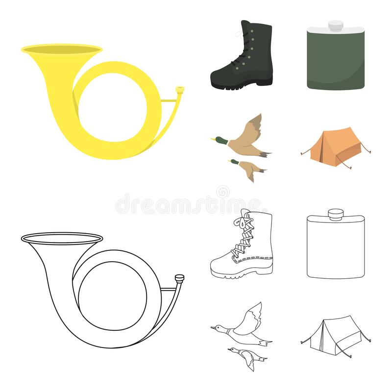 Flying ducks, flask, boots, tent..Hunting set collection icons in cartoon,outline style vector symbol stock illustration.  stock illustration