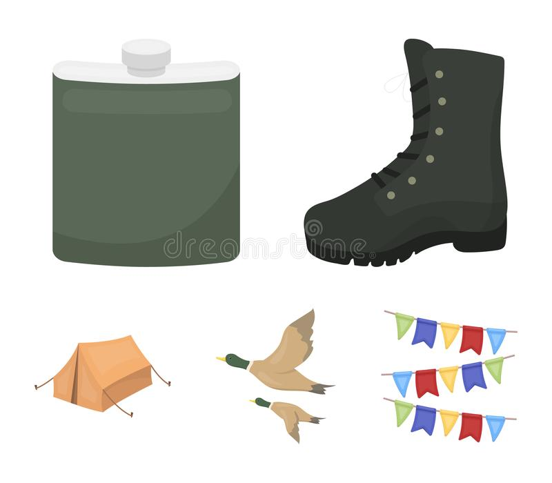 Flying ducks, flask, boots, tent..Hunting set collection icons in cartoon style vector symbol stock illustration web. Flying ducks, flask, boots, tent..Hunting stock illustration