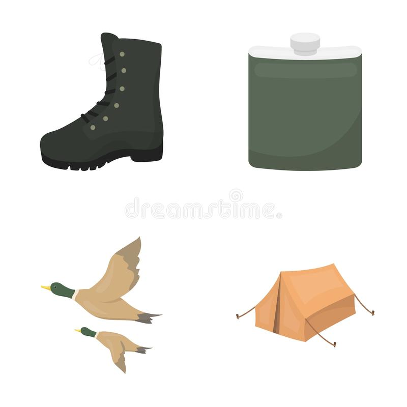 Flying ducks, flask, boots, tent..Hunting set collection icons in cartoon style vector symbol stock illustration web. Flying ducks, flask, boots, tent..Hunting royalty free illustration