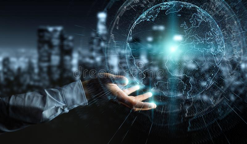 Flying earth network interface activated by businessman 3D rendering. Flying earth network interface activated by businessman on blurred background 3D rendering vector illustration
