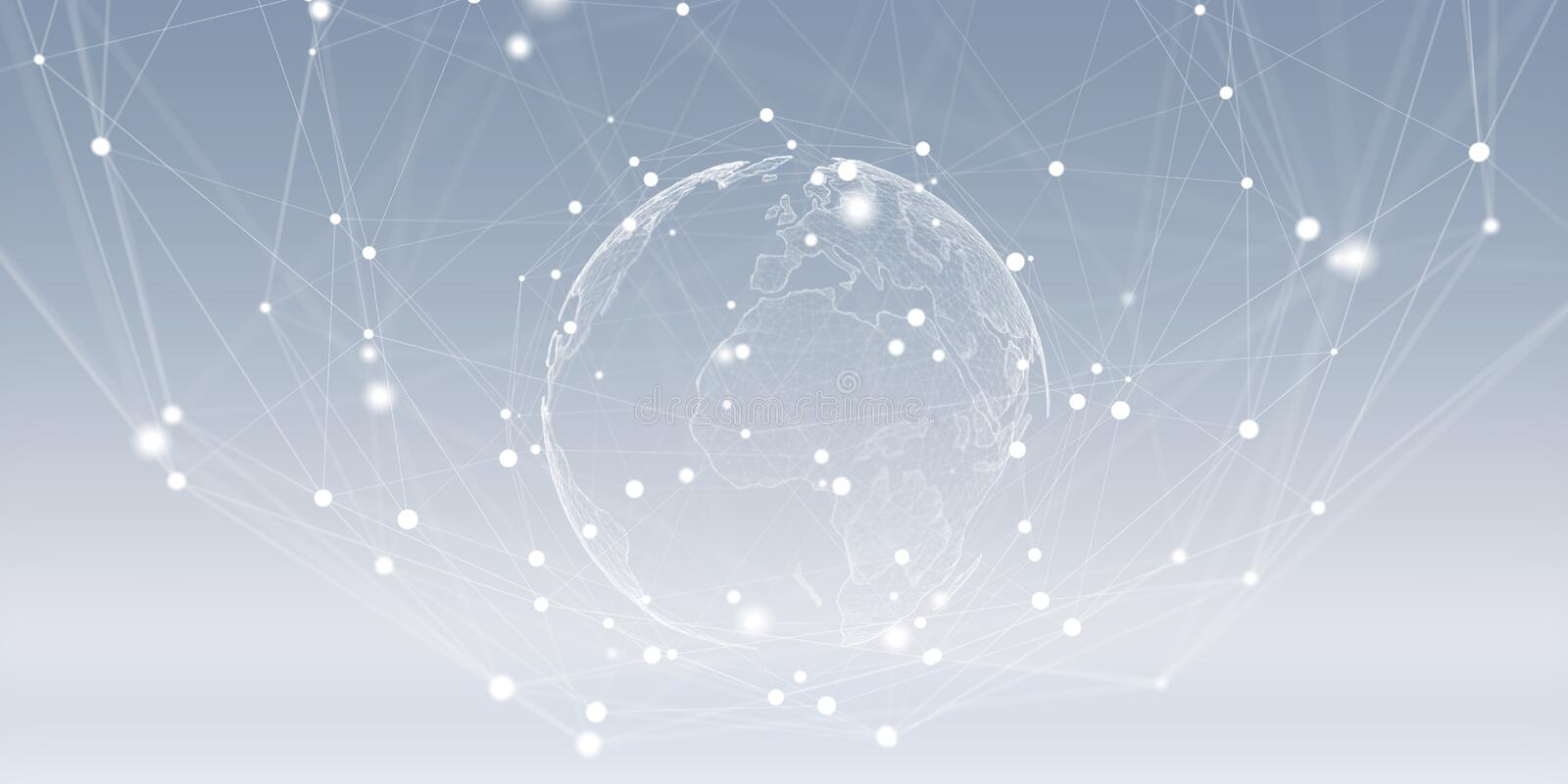 Flying earth network interface 3D rendering. On grey background royalty free illustration