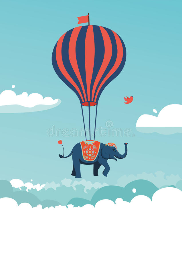 Flying elephant stock illustration
