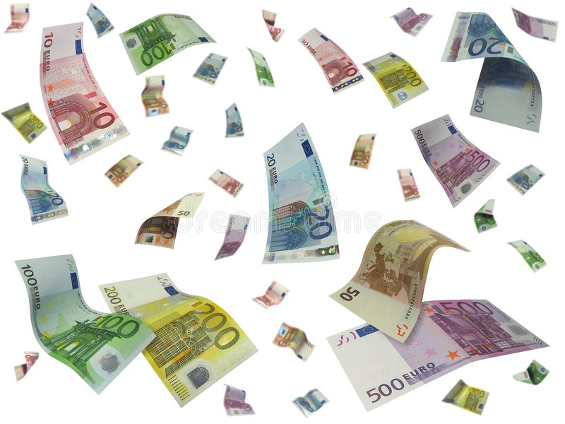 Flying Euro stock illustration