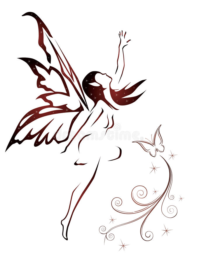 Download Flying fairy stock vector. Image of girl, female, outline - 20471817