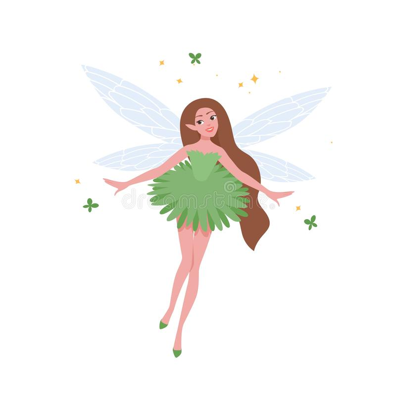 Flying fairy in beautiful dress and with long brunette hair isolated on white background. Folkloric magical creature. Character from myths, legends or vector illustration