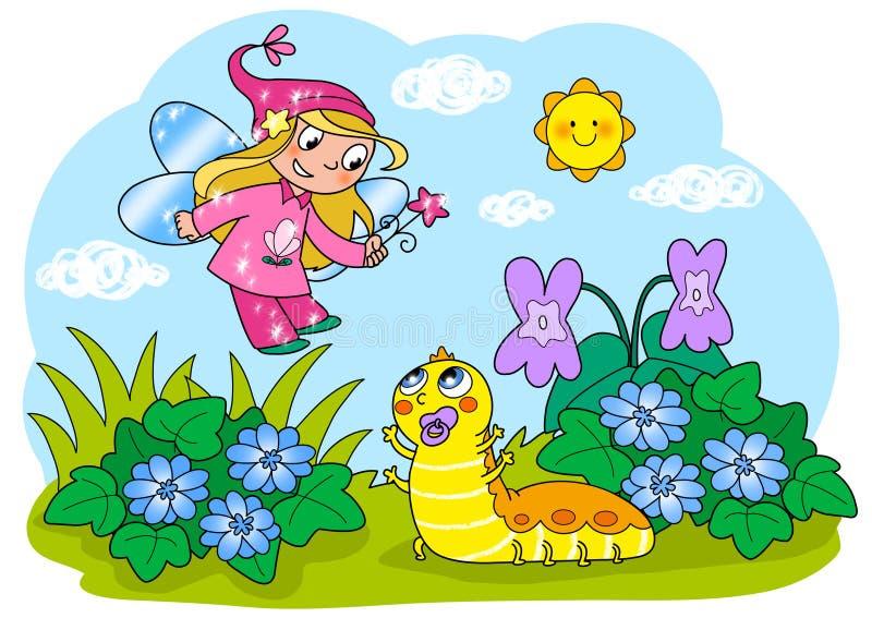 Flying Fairy And Cartoon Caterpillar Stock Photo