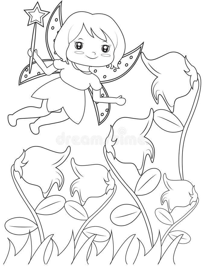 Flying fairy coloring page stock illustration. Illustration of ...