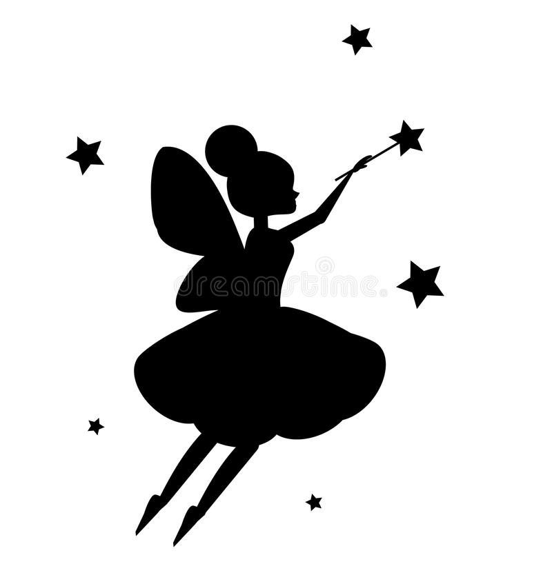 Flying fairy flapping magic wand. Black silhouette isolated on white background vector illustration