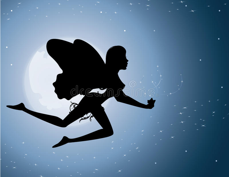Download Flying fairy silhouette stock vector. Image of dusk, moon - 14531592
