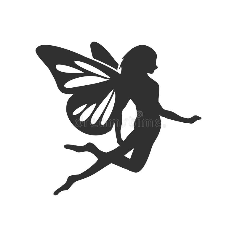 Flying Fairy Silhouette Character Design vector illustration