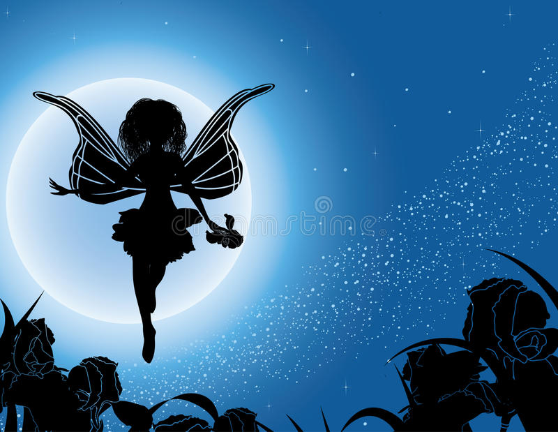 Download Flying Fairy Silhouette With Flowers In Night Sky Stock Vector - Illustration: 15941432