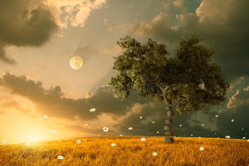 Download Flying with fantasy stock illustration. Illustration of tree - 31148193