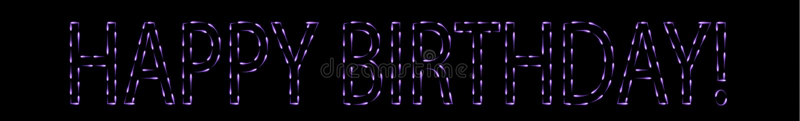 Flying fen-fires making purple happy birthday sign. Happy birthday sign, violet, purple, made from fen-fires stock illustration