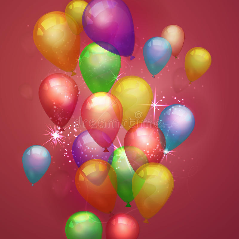 Flying festive balloons shiny with glossy balloons on red background. Vector composition with colorful balloons for holiday royalty free illustration