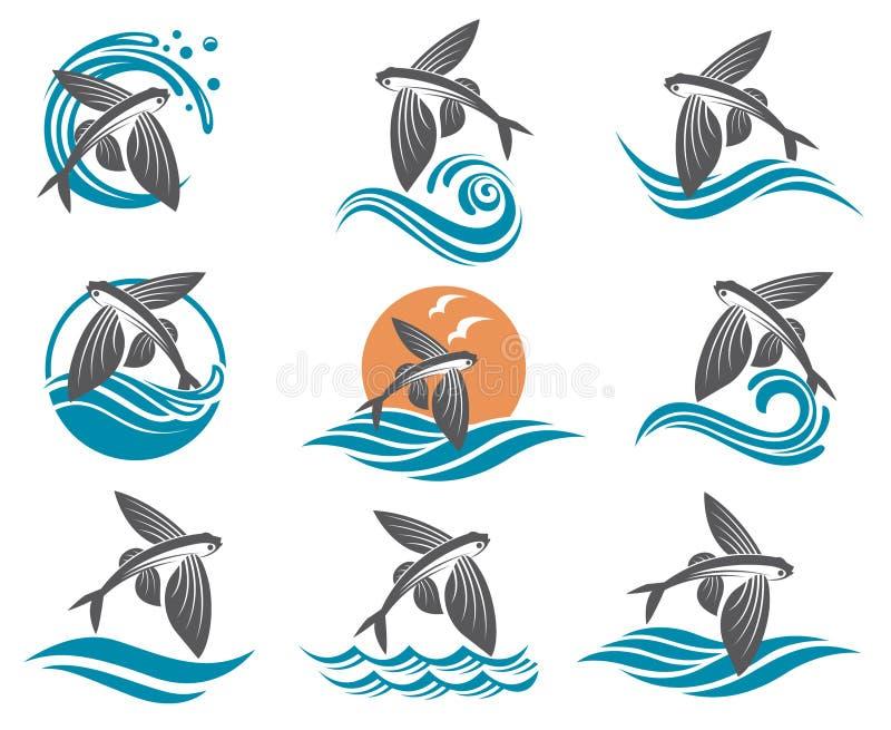 Flying fish illustrations set stock illustration