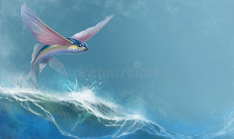 Flying fish jumping and flying. Fly fish hovers over the waves of the ocean realistic illustration background royalty free illustration