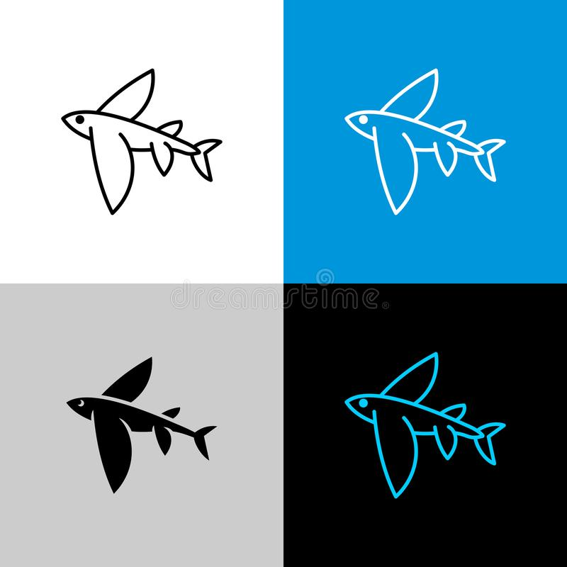 Flying fish thin linear simple icon side view. stock illustration