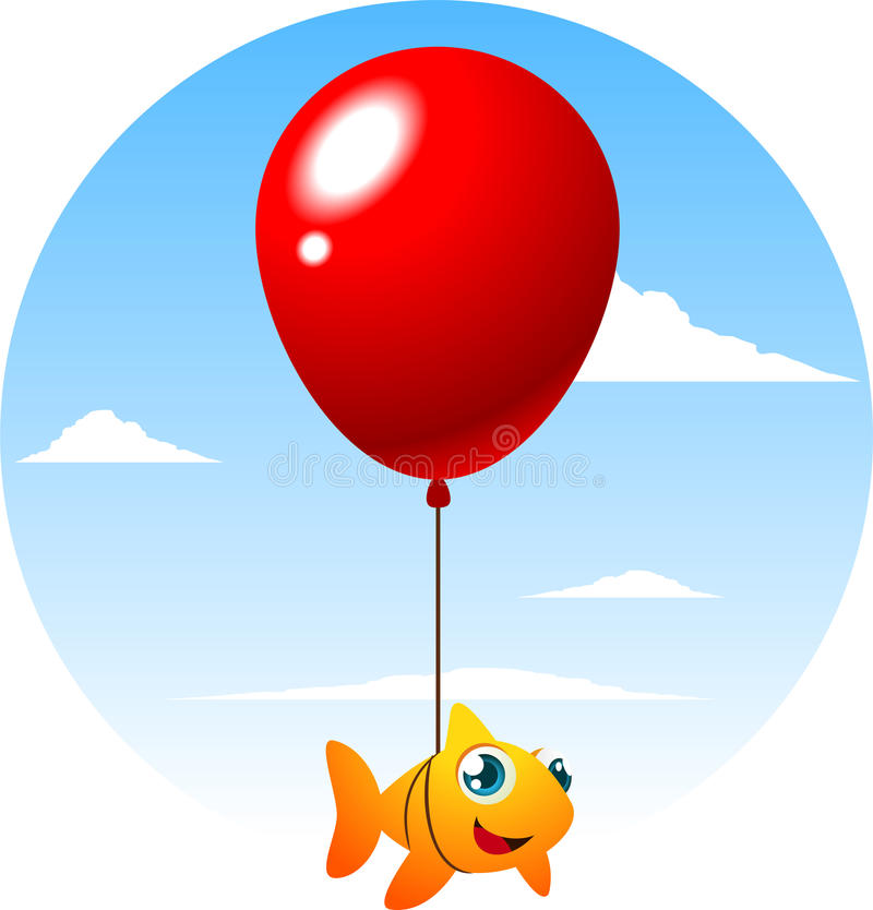 Flying fish tied to a big cute red balloon stock for Flying fish balloon
