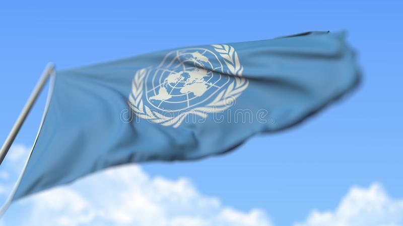 Flying flag of the United Nations UN, low angle view. Editorial 3D rendering stock photo