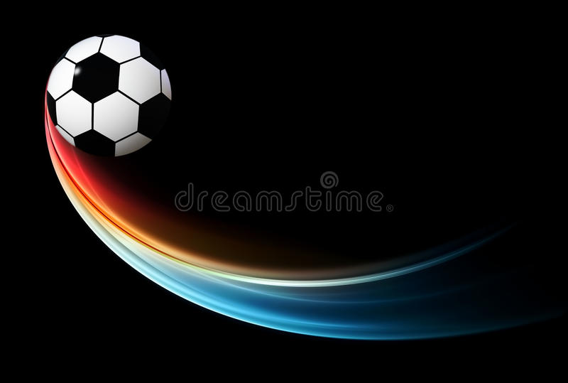 Flying flaming football/soccer ball with blue flame. Football background, a soccer ball with blue flame, illustration vector illustration